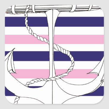 Beach Themed Tony Fernandes 6 mix stripe anchor Square Sticker