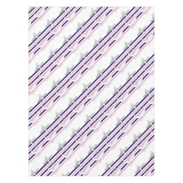 Beach Themed Tony Fernandes 6 mix stripe anchor Tablecloth