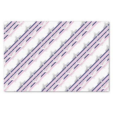 Beach Themed Tony Fernandes 6 mix stripe anchor Tissue Paper