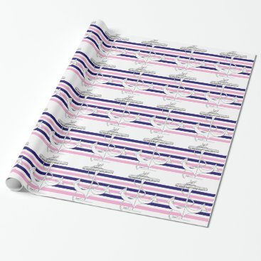 Beach Themed Tony Fernandes 6 mix stripe anchor Wrapping Paper