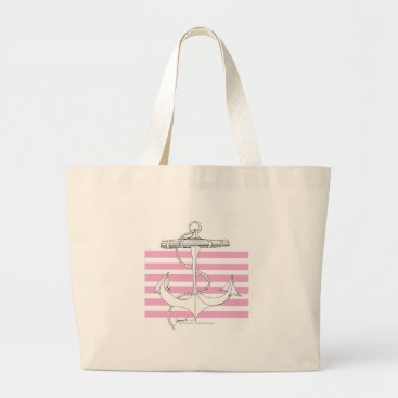 Beach Themed Tony Fernandes 6 pink stripe anchor Large Tote Bag