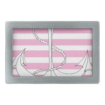 Beach Themed Tony Fernandes 6 pink stripe anchor Rectangular Belt Buckle