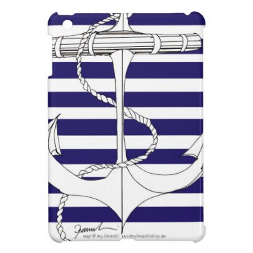Beach Themed Tony Fernandes 8 blue stripe anchor iPad Mini Cover