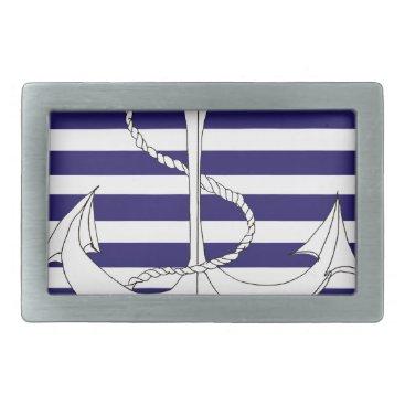 Beach Themed Tony Fernandes 8 blue stripe anchor Rectangular Belt Buckle