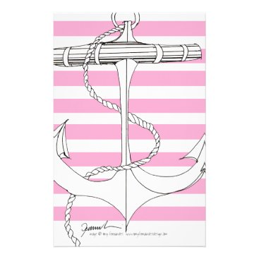 Tony Fernandes 8 pink stripe anchor Stationery