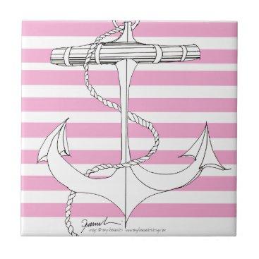 Tony Fernandes 8 pink stripe anchor Tile
