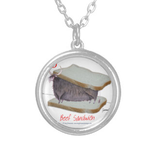 Tony Fernandes's Man Food - beef sandwich Silver Plated Necklace