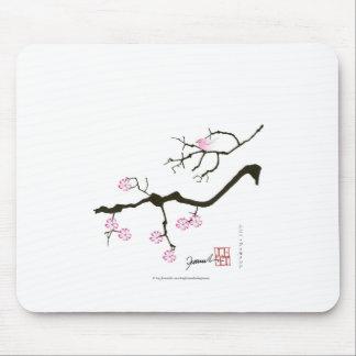tony fernandes sakura blossom and pink bird mouse pad