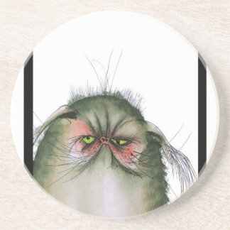 tony fernandes's grumpy tabby cat snap coaster