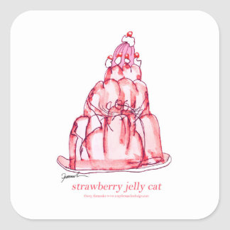 tony fernandes's strawberry jelly cat square sticker