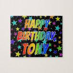 "[ Thumbnail: ""Tony"" First Name, Fun ""Happy Birthday"" Jigsaw Puzzle ]"