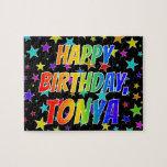 "[ Thumbnail: ""Tonya"" First Name, Fun ""Happy Birthday"" Jigsaw Puzzle ]"