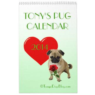 Tony's Pug Calendar 2014