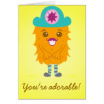 Too adorable orange monster with a hat greeting card