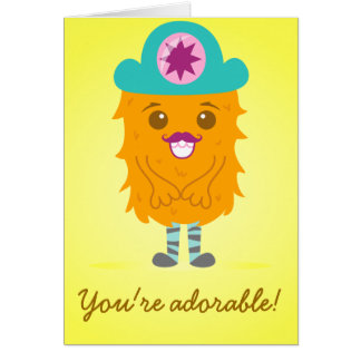 Too adorable orange monster with a hat card