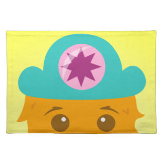 Too adorable orange monster with a hat cloth placemat