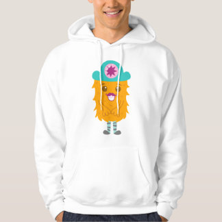 Too adorable orange monster with a hat hooded pullovers