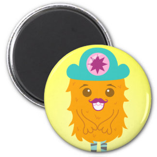 Too adorable orange monster with a hat refrigerator magnets