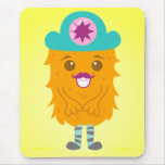 Too adorable orange monster with a hat mouse pad