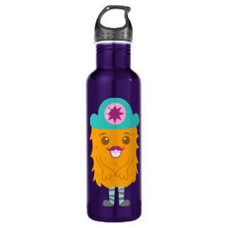 Too adorable orange monster with a hat 24oz water bottle