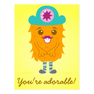 Too adorable orange monster with a hat postcard