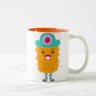 Too adorable orange monster with a hat Two-Tone coffee mug