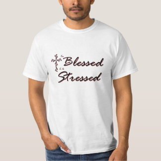 Too Blessed to be Stressed T Black and Red T-Shirt