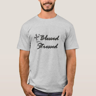 Too Blessed to be Stressed T Black and Silver T-Shirt