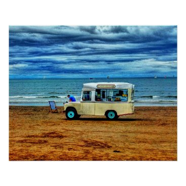 Beach Themed Too Cold For Ice Cream!? Van Seaside Beach Poster