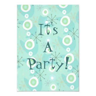 Too Cute Blue/Green Retro Pattern Invitations