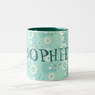 Too Cute Blue/Green Retro Pattern Mug