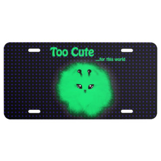 Too Cute for this World Alien Pomeranian License Plate