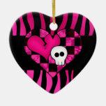 Too cute goth punk zebra heart fuschia black skull ceramic ornament