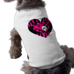 Too cute goth punk zebra heart fuschia black skull pet tshirt