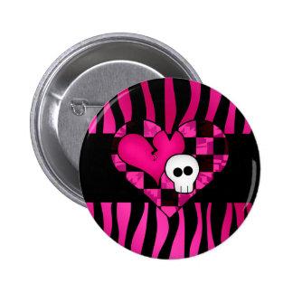Too cute goth punk zebra heart fuschia black skull pinback button