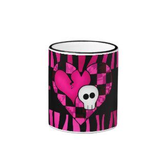 Too cute goth punk zebra heart fuschia black skull ringer coffee mug