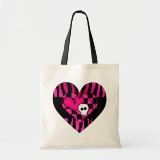 Too cute goth punk zebra heart fuschia black skull tote bag