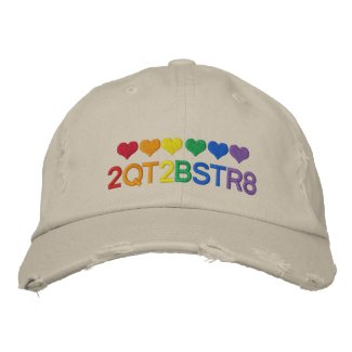 Too Cute To Be Straight Gay Pride Rainbow Hearts Embroidered Baseball Cap