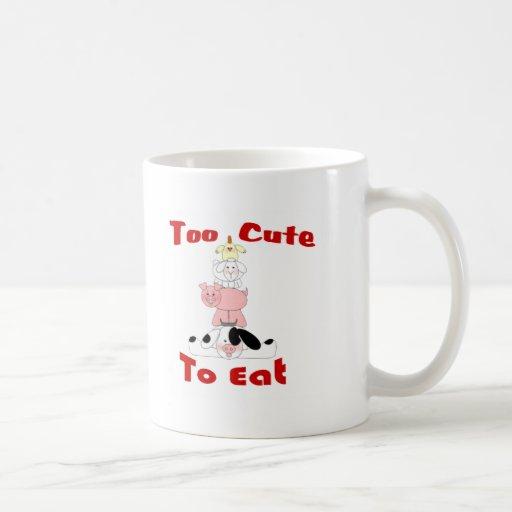 too cute to eat classic white coffee mug