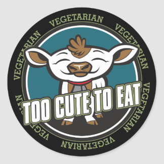 Too Cute to Eat Cow Classic Round Sticker