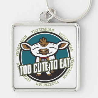 Too Cute to Eat Cow Silver-Colored Square Keychain