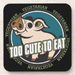 Too Cute to Eat Pig Beverage Coasters