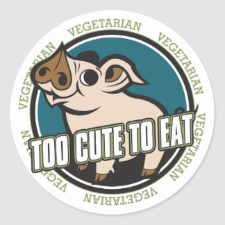 Too Cute to Eat Pig Classic Round Sticker