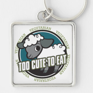 Too Cute to Eat Sheep Silver-Colored Square Keychain