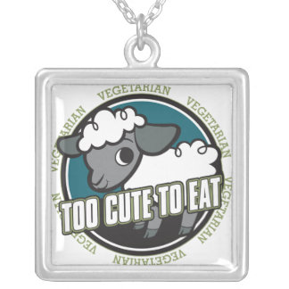 Too Cute to Eat Sheep Square Pendant Necklace