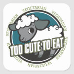 Too Cute to Eat Sheep Square Sticker