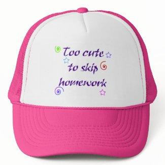 Too cute to skip homework hat