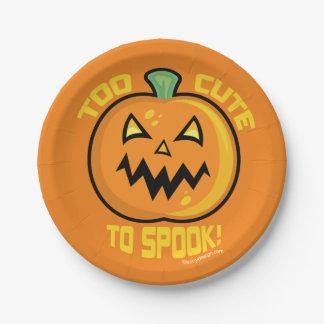 Too Cute To Spook Halloween Pumpkin Paper Plate
