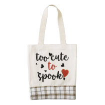 too cute to spook halloween zazzle HEART tote bag