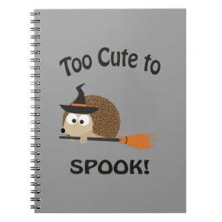 Too Cute To Spook! Hedgehog Witch Spiral Notebook
